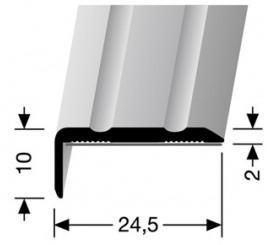 Hoekprofiel Zilver 10 x 24,5 mm. zelfklevend