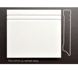 Stijlplint Milaan Wit gelakt 12 cm.