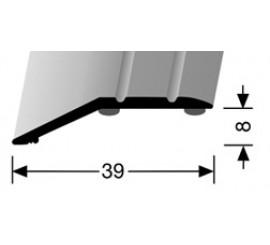 Overgangsprofiel Zilver 8 x 39 mm.  zelfklevend